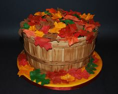 Bushel Of Leaves Spice cake for Thanksgiving. The bushel is MM fondant and the leaves are colored white modeling chocolate. Thanksgiving Baking, Thanksgiving Cakes, Thanksgiving Ideas, Cake Cookies, Cupcake Cakes, Fall Cakes, Modeling Chocolate, Spice Cake, Holiday Cakes