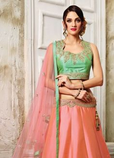 Attractive Net Peach A Line Lehenga Choli #lehengacholi  #indian #trendy #red #bridal#bollewood #party wear #traditional#online #mangosurat#style #boutiques #shopping #fashion #modal #social #branding #sales #marketing #business #discount #deal #success #ethnic #creation #embroidery #classic #cloth #clothing