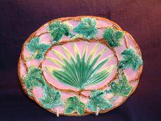 George Jones majolica pink palm platter