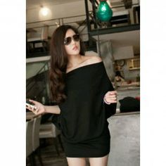 $8.47 Charming Boat Neck Dolman Sleeve Solid Color Cotton Blend Loose-Fitting Dress For Women