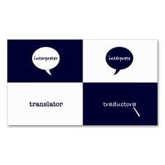 Interpreter/Translator English - Spanish Feminine Double-Sided Standard Business Cards (Pack Of 100)