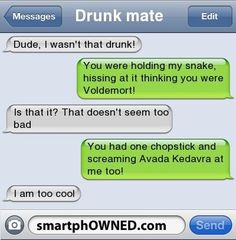New Funny Texts Harry Potter Voldemort Ideas I Wasnt That Drunk Texts, Funny Drunk Texts, Funny Text Memes, Text Jokes, Drunk Humor, Funny Text Messages, Funny Relatable Memes, Funny Quotes, Epic Texts