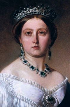 Queen Victoria wearing the Emerald and Diamond Tiara, United Kingdom (1845; designed by Prince Albert; made by Joseph Kitching; emeralds, diamonds, gold).