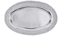 Triple Pearls Oval Platter | Lucky Den Three strands of Mariposa pearls border the Triple Pearls Oval Platter.