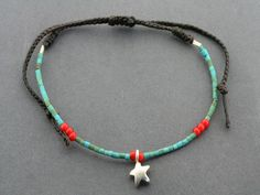 turquoise bead bracelet - star Seed Bead Bracelets, Seed Beads, Turquoise Beads, Beaded Necklace, Brass, Pearls, Sterling Silver, Unique, Gifts