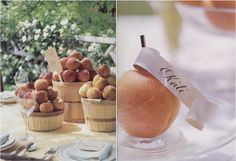 Peach centerpieces, escort cards, seating cards