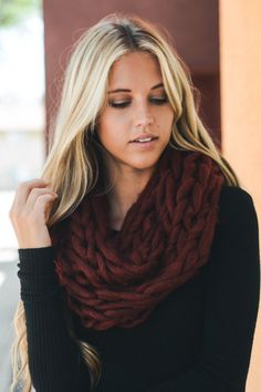 Large Cable Knit Infinity Scarf