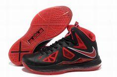 9293aad334ed Nike Lebron X 10 Black University Red Metallic Silver Style 541100 006  Release Factory