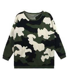 Camouflage Knitted Jumper in Loose Fit