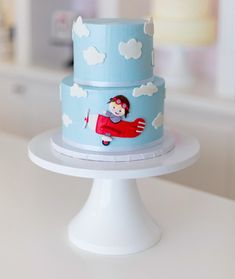 Airplane and clouds birthday cake Airplane Baby Shower Cake, Airplane Birthday Cakes, 1st Birthday Cakes, Airplane Party, Baby Shower Cakes, Birthday Celebration, Birthday Ideas, Helicopter Cake, Children Cake
