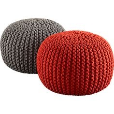knitted blood orange pouf in pillows | CB2  i need more floor space for more floor cushions.