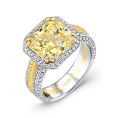 Uneek Natureal Yellow Radiant Diamond Engagement Ring LVS559 - Fancy yellow radiant shape diamond center prong set in a platinum and yellow gold diamond engagement ring.