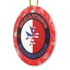 Maltese American Ensign Cross Christmas Ornament. For more holiday ornaments, please check out my store: www.zazzle.com/celticana*/ #ChristmasOrnaments #ChristmasDecorations #Zazzle #MalteseAmerican