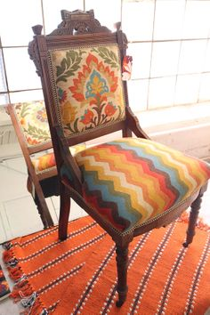 Upholstered in Waverly fabric. Very Mexican, southwest feel to it.  Vintage Antique Eastlake Chair Reupholstered in Modern by ToroShop