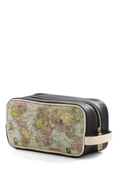 Cargo for It Map Travel Bag (ModCloth, $49.00)    DETAILS:  Man-made materials.  Bag measures 5 inches in height, 10.25 inches in length, 4.5 inches in width. Handle measures 6 inches.  Wipe outside with a damp cloth. Do not store in direct sunlight.  Fully lined. Top zipper closure.  Imported