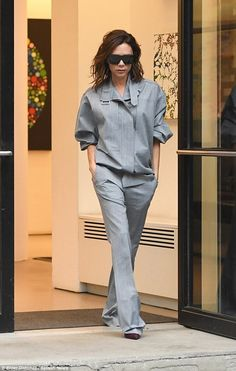 Victoria Beckham was back to her monochrome best on Tuesday, rocking a grey utility-inspired outfit while heading to a meeting in New York.