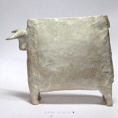The White Bull / Ceramic Sculpture/ Unique Ceramic Figurine / bullock / Animal clay by arekszwed on Etsy