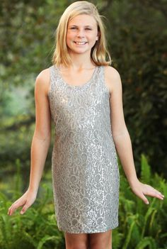 ElisaB Frosted Lace Sleeveless Shift Dress for Tweens