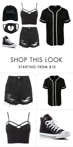 """Dancing in all black"" by ifrancesconi on Polyvore featuring Topshop, LE3NO, Charlotte Russe, Converse, Nasaseasons and plus size clothing"