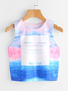 Young Boho Tank Letter and Tie Dye Regular Fit Round Neck Multicolor Crop Length Tie Dye Printed Crop Tank Top Tie Dye Tops, Tie Dye Crop Top, Cropped Tank Top, Crop Tank, Tank Tops, Girls Fashion Clothes, Fashion Outfits, Ootd Fashion, Street Fashion