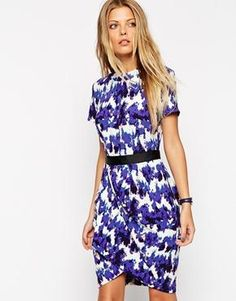 ASOS Tulip Dress in Crepe with Blurred Animal Print