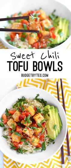 Sweet Chili Tofu Bowls are a fast, fresh, and flavorful dinner packed with vibrant colors and nutrients. Step by step photos. - BudgetBytes.com