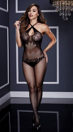 This sexy black bodystocking features criss-cross halter straps, a keyhole front opening, sheer lace cups, a sheer fishnet bodice, a lace panty silhouette, sheer fishnet pantyhose, opaque racerback straps, a large keyhole back opening, an open crotch, and a lace full back panty silhouette. (Panty not included.) Criss-Cross Fishnet and Lace Silhouette Bodystocking, Crotchless Fishnet Bodystocking, Fishnet and Lace Bodystocking #lingerie #bodystockings