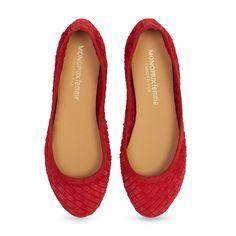 MONOPRIX Ballerines en cuir - rouge