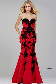 5d37187835c8d Red/Black Strapless Mermaid Prom Dress 29031 Mermaid Prom Dresses, Prom  Dresses Jovani,