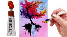 The art sherpa: easy autumn tree with waterfall moon q tip acrylic painting tutorial Q Tip Painting, Pallet Painting, Acrylic Painting Tutorials, Beginner Painting, Painting Lessons, Painting Techniques, Fantasy Warrior, The Art Sherpa, Waterfall Paintings