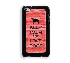 KEEP CALM & LOVE DOGS Protective Designer Snap-On Case - Fits Apple iPod Touch 4