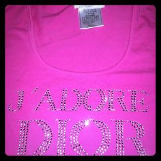 Jadore dior rhinestone bling crystal pink shirt So cute! One Of My favorite but Is too small. Hot pink. Long sleeve. Stretchy clingy fabric. One gem is  missing on the D not very noticeable I might even have an extra swarovski crystal I can replace it with. Very sparkly.  Authentic. Dior Tops Tees - Long Sleeve