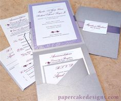 Invites Grey on Grey with purple ink