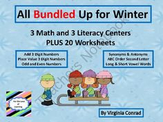 3 Math and 3 Literacy Centers PLUS 20 Worksheets--Winter Theme from Back to Basic Skills on TeachersNotebook.com (114 pages)  - 6 centers for the winter plus 20 worksheets---use for practice, review, or assessment of the math and literacy skills targeted in the packet