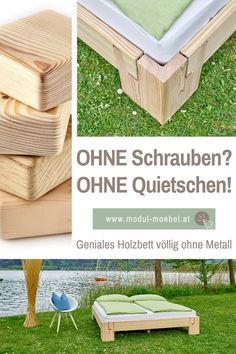 Hast du genug von Betten die bei jeder Bewegung quietschen und knarren? Unser metallfreies Holzbett ist nicht nur kinderleicht selbst zu bauen sondern zu 100% stabil und garantiert geräuschfrei! Wir produzieren und versenden unser Massivholzbett direkt aus unserer Tischlerei in Österreich. Gleich online konfigurieren und passendes Kopfteil für dein Schlafzimmer auswählen. Wir verwenden Holz von Zirbe, Fichte, Kiefer, Eiche massiv natur. #mmw #holzbett #massivholzbett #vollholzbett… Diy Wood Projects, Storage, Furniture, Home Decor, Twin Size Beds, Carpentry, Purse Storage, Decoration Home, Room Decor