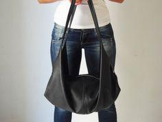 Large handmade leather bag   Black shoulder purse  Soft by Laroll