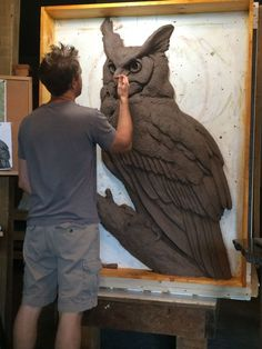 #Bronze #sculpture by #sculptor Wesley Wofford titled: 'Nocturne (Large Owl High Relief Wall Plaque statue)'. #WesleyWofford