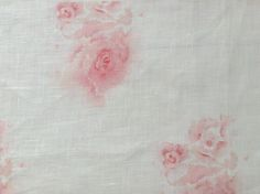 Pink tatty rose fabric, designed by Emma Connolly. Watercolour design. Belgian linen. £48.00 pm