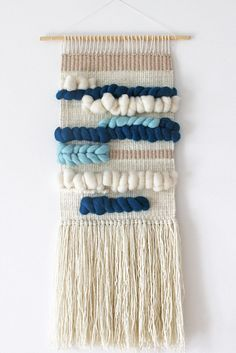 Woven wall hanging   Wall tapestry   Wall decor   Home decor   Wall weaving ivory, petrol, mint by weavingmystory on Etsy https://www.etsy.com/au/listing/289580185/woven-wall-hanging-wall-tapestry-wall
