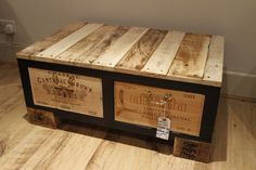 wood palets and wine boxes. Nice!