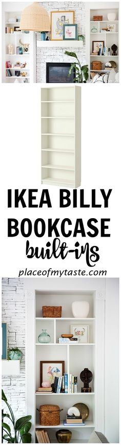 WOWZA! What a great built-in bookcase! She used billy bookcase to make the built-ins around her fireplace. Such a great IKEA HACK!