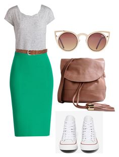 """""""School ootd"""" by mayventu1999 ❤ liked on Polyvore featuring Pieces, Roland Mouret, Lucky Brand, Converse, See by Chloé and Quay"""