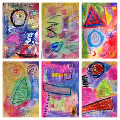 Kindergarten study on Wassily Kandinsky: oil pastel/tempera paintings - VA visual arts SOL K.7.2 - The student will identify and use line: straight/curved, thick/thin, long/short, up/down/across K.7.3: TSW identify and use shape in a work of art: circle, square, triangle, oval, rectangle