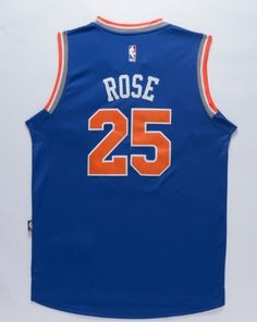 New York Knicks 25 Derrick Rose Throwback Swingman Basketball Men's Blue Jersey - Basketball-NBA
