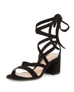 83b01217afc Gianvito Rossi Janis Low Suede Lace-Up Sandal