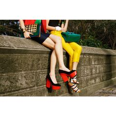Celine Platforms - Tommy Ton Street Style Fashion Spread ❤ liked on Polyvore