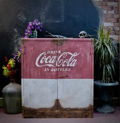 Painted in Annie Sloan Chalk Paint faux rust Coca-Cola Annie Sloan Chalk Paint, Coca Cola, Rust, Neon Signs, Bottle, Painting, Vintage, Coke, Flask