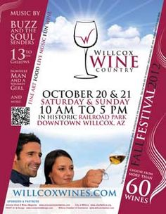 Cooler weather, fabulous local wine, and a historic park.  Yes, it is the Willcox wine festival!  A great Arizona wine event.