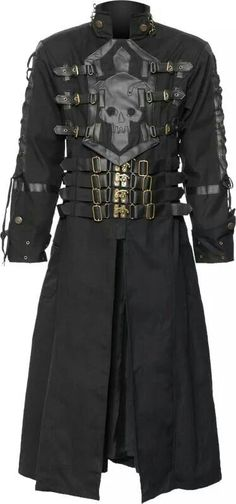 (No skull. makes too gaudy) Black cotton coat for men, with skull and cross application chest ornament and unique clasp-closure details with straps. A unique clothing design made by Raven SDL. Cool Jackets For Men, Men's Coats And Jackets, Unique Outfits, Cool Outfits, Fashion Outfits, Style Fashion, Fashion Wear, Fashion Clothes, Fashion Tips
