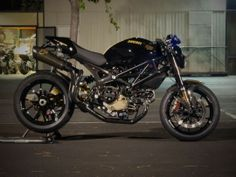 It is unusual but the best solution to find a Monster custom with exhaust pipes that are parallel to the seat.